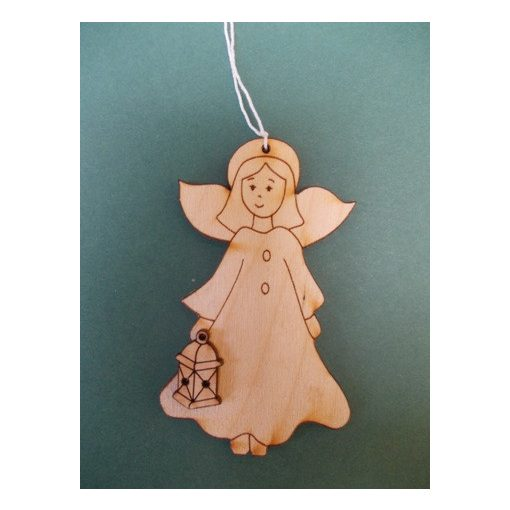 Angyalka lámpással fafigura, karácsonyfa dísz