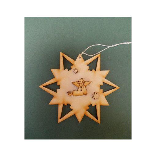 Csillag angyalkával karácsonyfa dísz