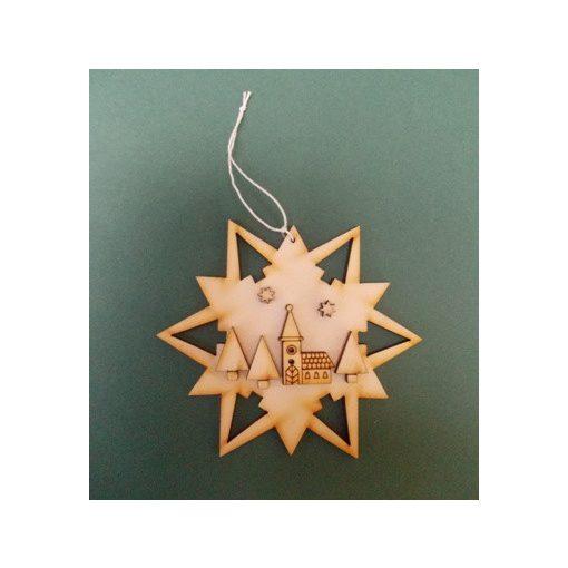 Csillag templommal karácsonyfa dísz