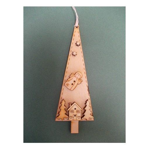Csúcsos fenyő házikóval karácsonyfa dísz