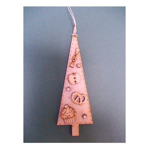 Csúcsos fenyő finomságokkal karácsonyfa dísz