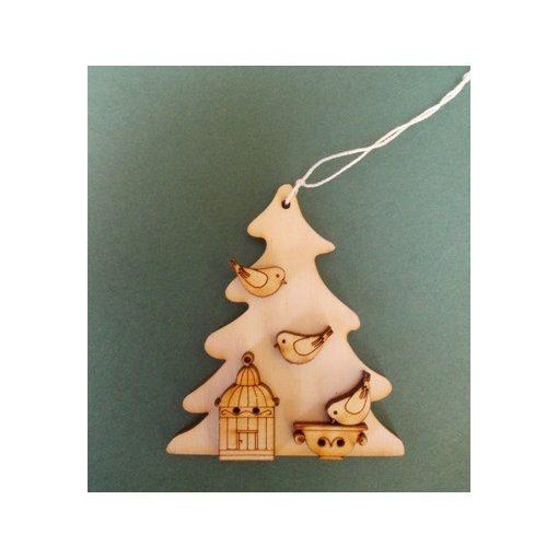 Fenyő madárkalitkával karácsonyfa disz