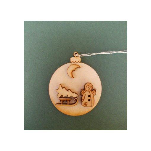 Gömb szánkóval karácsonyfa dísz