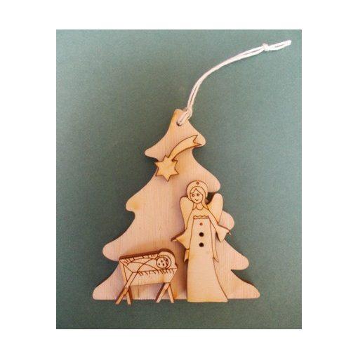 Házikó jászollal, angyalkával karácsonyfa dísz