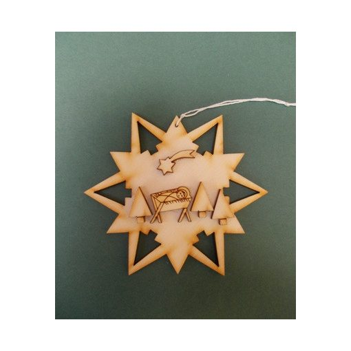 Csillag jászollal karácsonyfa dísz