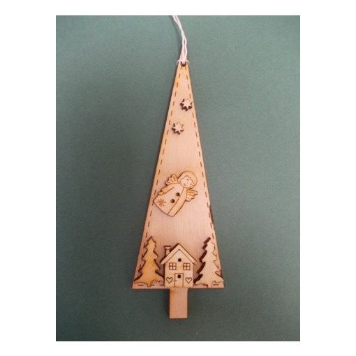 Csúcsos fenyő házikóval, karácsonyfa dísz