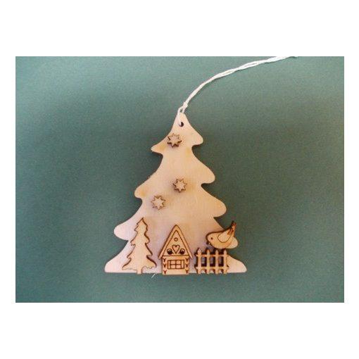 Fenyő mézeskalácsházzal, karácsonyfa dísz