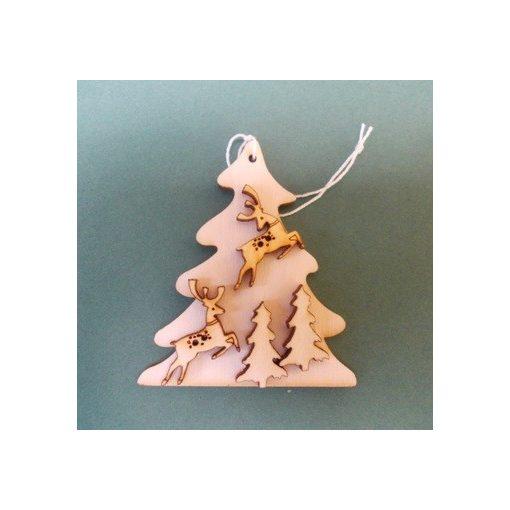 Fenyő szarvasokkal, karácsonyfa dísz